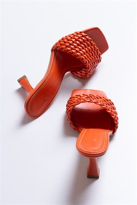 MONICA Orange Hand Knitting Slipper