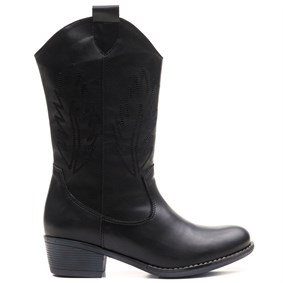 ORNELLA Black Leather Nakışlı Western Bayan Bot